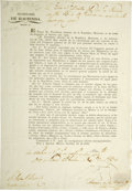 Autographs:Non-American, [Broadside] Decree Extending President Jose Justo Corro's Powers toOccupied Ports in Texas....
