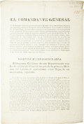 Military & Patriotic:Pre-Civil War, [BROADSIDE] Propaganda Letter From Gen. Martin Perfecto de Cos, Dispelling Rumors About the Army's Collapse and Downplaying th...