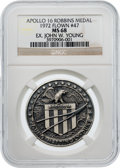 Explorers:Space Exploration, Apollo 16 Flown MS68 NGC Silver Robbins Medallion, Serial Number47, Originally from the Personal Collection of Mission Comman...
