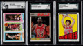 Basketball Cards:Lots, 1972 Topps Julius Erving, 1980 Topps Bird/Magic & 1987 FleerMichael Jordan Graded Trio (3)....