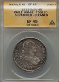 Chile, Chile: Ferdinand VII 4 Reales 1813 So-FJ XF45 Details (Scratched,Cleaned) ANACS,...