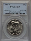 Kennedy Half Dollars, 1991-P 50C MS67 PCGS. PCGS Population: (54/2). NGC Census: (76/1)....