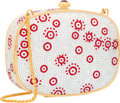 Luxury Accessories:Accessories, Judith Leiber Full Bead Red & Silver Crystal Oval MinaudiereEvening Bag . Proceeds Benefit TACA. ...