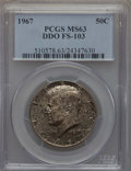 Kennedy Half Dollars, 1967 50C Doubled Die Obverse, FS-103, MS63 PCGS. PCGS Population:(1/2). NGC Census: (0/4). Mintage 295,046,976. ...
