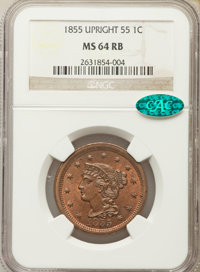 1855 1C Upright 55 MS64 Red and Brown NGC. CAC. NGC Census: (71/93). PCGS Population: (178/97). CDN: $435 Whsle. Bid for...