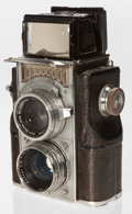 Photographs, Zeiss Contaflex TLR Camera. German, 1936, No. A46607, for exposures 24 x 36mm on 35mm film, with Zeiss Sucher-Objektiv 8cm f...