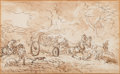 Fine Art - Work on Paper:Drawing, Circle of Jacques François Joseph Swebach (French, 1769-1823).An accident on the road. Black chalk, pen and brown ink, ...
