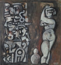 Works on Paper, Béla Kádár (1877-1955). Untitled (Nude with Totemic Column), circa late 1940s/early1950s. Gouache on paper. 29 x 27-1/4 ...