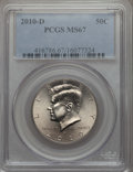 Kennedy Half Dollars, 2010-D 50C MS67 PCGS. PCGS Population: (94/2). NGC Census: (43/2)....
