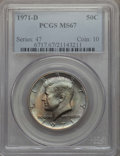 Kennedy Half Dollars, 1971-D 50C MS67 PCGS. PCGS Population: (202/3). NGC Census: (104/4). Mintage 302,097,408. ...