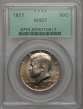 Kennedy Half Dollars, 1977 50C MS67 PCGS. PCGS Population: (38/0). NGC Census: (26/1).Mintage 43,598,000. ...