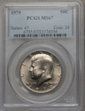 Kennedy Half Dollars, 1979 50C MS67 PCGS. PCGS Population: (48/1). NGC Census: (20/1).Mintage 68,312,000. ...