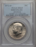 Kennedy Half Dollars, 1973-D 50C Doubled Die Obverse, FS-101, MS65 PCGS. (FS-014.8). PCGSPopulation: (2/1). NGC Census: (6/2). Mintage 83,171,...