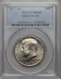 Kennedy Half Dollars, 1977-D 50C Doubled Die Obverse, FS-101, MS63 PCGS. PCGS Population:(3/4). Mintage 31,449,106. ...