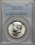 Kennedy Half Dollars, 1968-D 50C Tripled Die Obverse, FS-101, MS64 PCGS. PCGS Population:(4/4). Mintage 246,951,936. ...