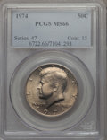 Kennedy Half Dollars, 1974 50C MS66 PCGS. PCGS Population: (154/11). NGC Census: (40/3).Mintage 201,596,000. ...