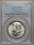 Kennedy Half Dollars, 1964-D 50C Tripled Die Obverse, FS-103, MS65 PCGS. (FS-013.5). PCGSPopulation: (10/2). NGC Census: (20/0). Mintage 156,2...