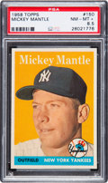 Baseball Cards:Singles (1950-1959), 1958 Topps Mickey Mantle #150 PSA NM-MT+ 8.5. ...