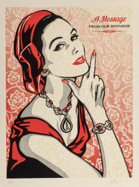 Shepard Fairey (b. 1970) A Message From Our Sponsor, 2015 Three-color relief on handmade paper 30