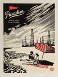 Prints:Contemporary, Shepard Fairey (b. 1970). Paradise Turns, 2015. Three-colorrelief on handmade paper. 35-5/8 x 26-3/8 inches (90.5 x 67 ...