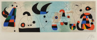 After Joan Miró (1893-1983) Sur quatre murs, 1951 Lithograph in colors 10-1/4 x 31-1/4 inches (26