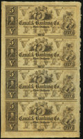 Obsoletes By State:Louisiana, New Orleans, LA- Canal & Banking Co. $5-$5-$5-$5 18__ Uncut Sheet. ...