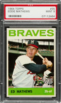 Baseball Cards:Singles (1960-1969), 1964 Topps Eddie Mathews #35 PSA Mint 9 - None Higher. ...