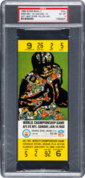 Football Collectibles:Tickets, 1968 Super Bowl II Full Ticket PSA EX-MT 6 - Yellow Variation. ...