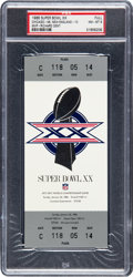 Football Collectibles:Tickets, 1986 Super Bowl XX Full Ticket PSA NM-MT 8. ...