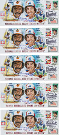 Baseball Collectibles:Others, 2003 Gary Carter & Eddie Murray Signed Envelopes Lot of 5 fromThe Gary Carter Collection....