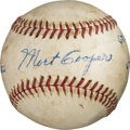 Baseball Collectibles:Balls, 1944 World Series Game Five Last Out Baseball from The Mort Cooper Collection....