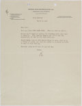 Autographs:Authors, Edgar Rice Burroughs Typed Letter Signed....