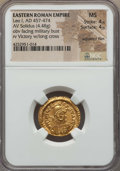 Ancients:Roman Imperial, Ancients: Leo I the Great, Eastern Roman Emperor (AD 457-474). AVsolidus (4.48 gm). NGC MS 4/5 - 4/5, adjusted flan....