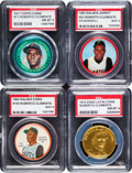 Baseball Cards:Lots, 1962 - 1972 Topps, ESSO, Salada and Shirriff Roberto Clemente CoinsCollection (4). ...