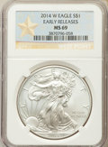 Modern Bullion Coins, 2014-W $1 Silver Eagle, Early Release, Struck at West Point, MS69 NGC. NGC Census: (2051/6639). PCGS Population: (675/2051)...