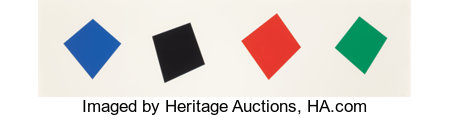 Ellsworth Kelly (1923-2015) Blue/Black/Red/Green, 2001 Lithograph in colors on Lanaquarelle paper 25 x 88-1/2 inches ...