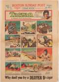 Autographs:Artists, [Burne Hogarth]. Sunday Comic Supplement from the BostonPost, Featuring Color Tarzan Comic Inscribed ...