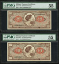 Military Payment Certificates:Series 641, Series 641 $1 Two Consecutive Examples PMG About Uncirculated 55..... (Total: 2 notes)