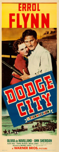 "Movie Posters:Western, Dodge City (Warner Brothers, 1939). Linen Finish Insert (14"" X36"").. ..."
