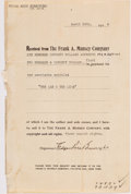 Autographs:Authors, [Edgar Rice Burroughs]. Receipt for Sale of First Serial Rights to The Lad and the Lion. New York: Frank A. Muns...
