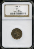 Patterns: , 1858 P1C Indian Cent, Judd-211, Pollock-255, 262, R.4, PR 64 NGC....