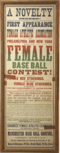 Baseball Collectibles:Others, 1879 Female Baseball Broadside. Magnificent 1879 broadside toutinga rare sight indeed for the time -- a match up between t...