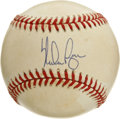 Autographs:Baseballs, Nolan Ryan Single Signed Baseball. Baseball's all-time strikeoutking has added his signature to the sweet spot of the off...