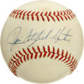 "Autographs:Baseballs, Jim ""Catfish"" Hunter Single Signed Baseball. Accolades for Jim""Catfish"" Hunter are too numerous to mention, but suffice to..."
