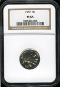 "Proof Buffalo Nickels: , 1937 5C PR 65 NGC. The current Coin Dealer Newsletter (Greysheet)wholesale ""bid"" price is $1330.00...."