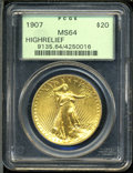 High Relief Double Eagles: , 1907 $20 High Relief, Wire Rim MS64 PCGS. ...