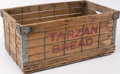 Books:Furniture & Accessories, [Advertising]. Original Wooden Delivery Crate for Tarzan Bread.Detroit: A. Backus Jr. & Sons, [N.d., Circa 1930s]....