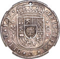 """Mexico, Mexico: Guatemala. Type II countermark (1839) on Mexican 1717 Mo-JPhilip V """"Royal"""" 8 Reales XF Details (Holed) NGC,..."""