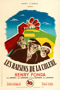 """The Grapes of Wrath (20th Century Fox, 1947). First Post-War Release French Half Grande (31"""" X 46.5"""") Bernard..."""