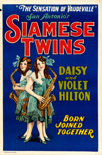 """Hilton Sisters - Siamese Twins (Quigley Publications, 1925). One Sheet (28"""" X 42"""")"""
